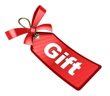 free gift: 3d illustration of red tag with ribbon and gift label Stock Photo