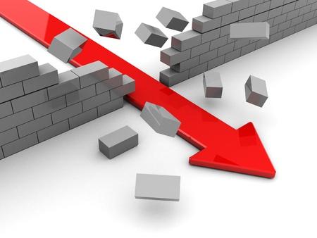 boundary: 3d illustration of breaking boundary red arrow Stock Photo