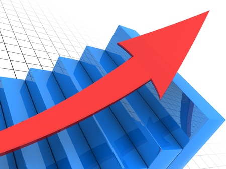 stage chart: 3d illustration of business graph with arrow, closeup