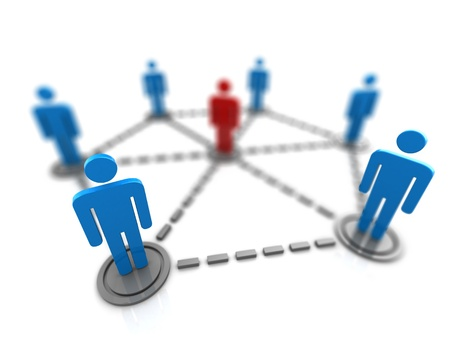 contacts group: 3d illustration of people network symbol