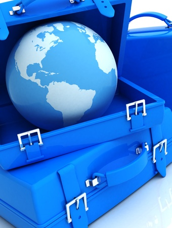 abstract 3d illustration of background with luggage and earth globe, blue colors illustration