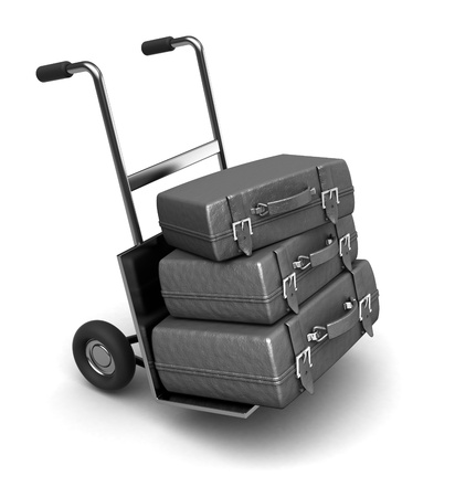 3d illustration of luggage on truck, isolated over white background illustration