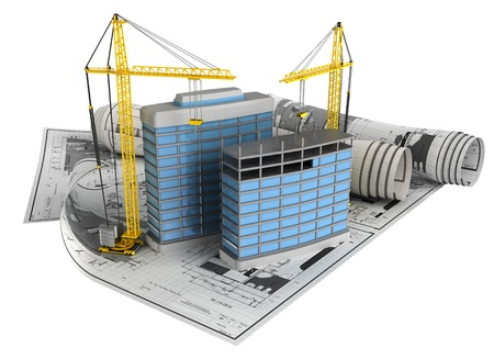construction plans: 3d illustration of building construction concept, isoalted icon over white background