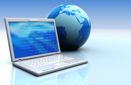 3d illustration of laptop with earth globe, internet concept background Stock Illustration - 12752598