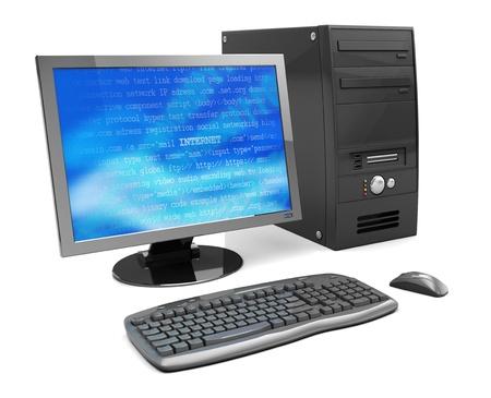 detail internet computer: 3d illustration of desktop computer, black color