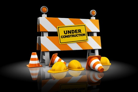 road barrier: 3d illustration under construction sign over black background