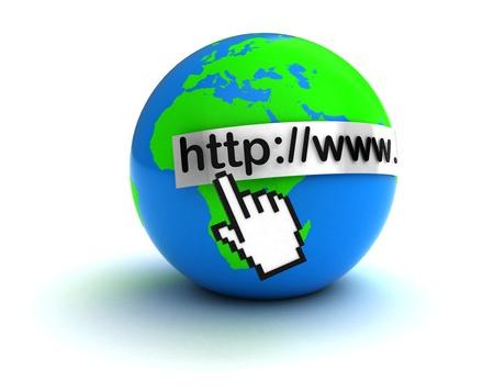 3d illustration of hand mouse cursor and earth globe, internet concept illustration