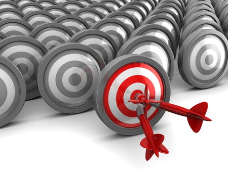 3d illustration of darts, right target concept illustration