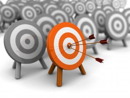 shooting target: 3D-afbeelding van juiste doelgroep selectie-concept