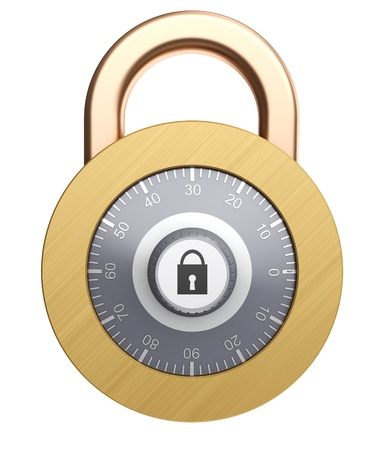 3d illustration of combination lock isolated over white background Stock Illustration - 12752534