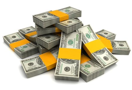 3d illustration of dollar banknotes heap, over white background Stock Illustration - 12752631