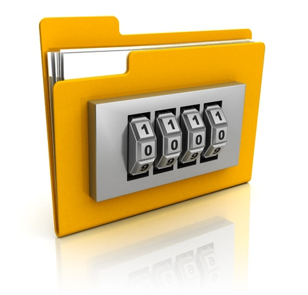 combination lock: 3d illustration of code protected folder