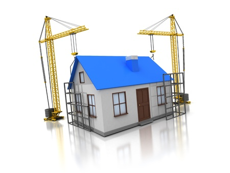 3d small people: 3d illustration of domestic house construction Stock Photo