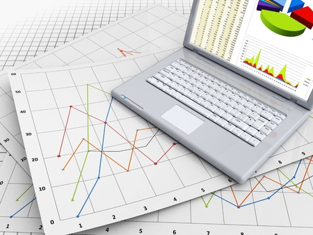 3d illustration of business graphs and laptop Stock Illustration - 12752624