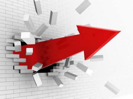 overcome: 3d illustration of red big arrow breaking brick wall Stock Photo