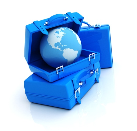 3d illustration of luggage with earth globe, travel concept illustration
