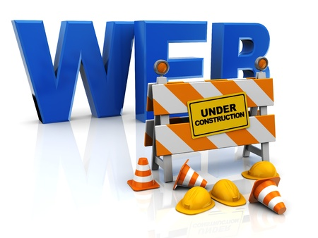 road work: 3d illustration of web construction concept