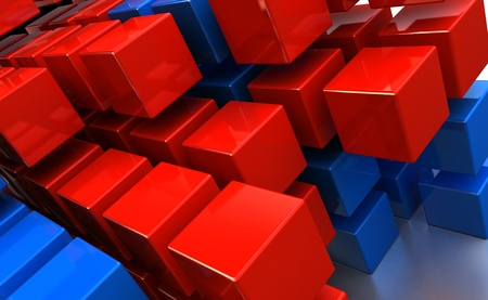abstract 3d illustration of cubes background, red and blue colors Stock Illustration - 12752674