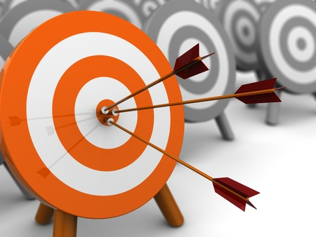 one on one: abstract 3d illustration of darts target, right target concept Stock Photo