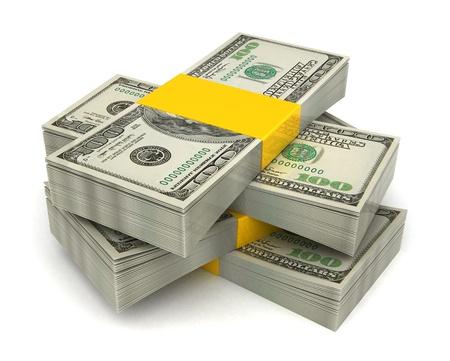 3d illustration of dollar banknotes heap, over white background illustration