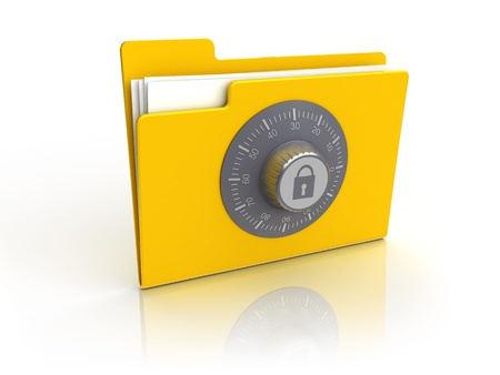 secret password: 3d illustration of folder icon with combination lock, isolated over white background Stock Photo