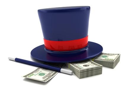 magic trick: 3d illustration of magic money concept