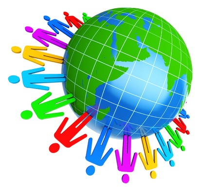 3d illustration of colorful people around earth globe illustration