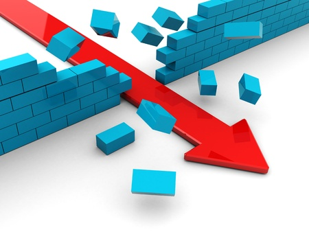 boundaries: 3d illustration of red arrow breaking blue bricks wall Stock Photo