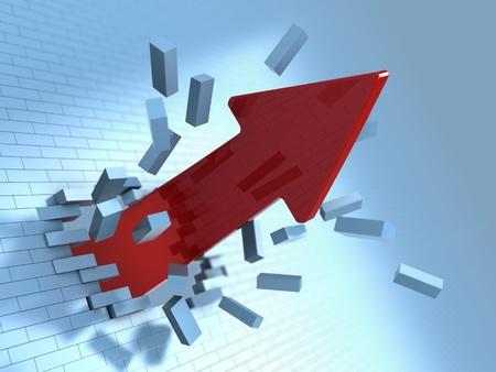 3d illustration of red arrow breaking blue bricks wall illustration