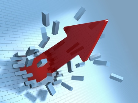 obstacle course: 3d illustration of red arrow breaking blue bricks wall Stock Photo