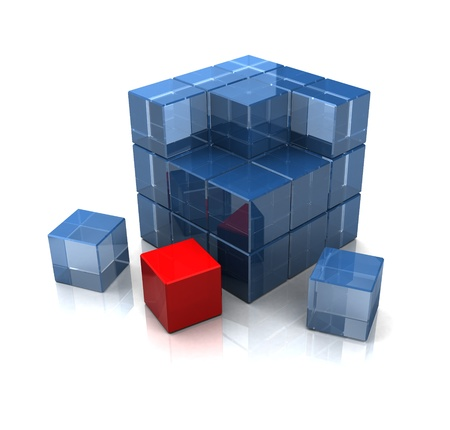 illustration of 3d cube built with blocks, and one red block Stock Illustration - 12942477