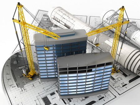 front office: 3d illustration of building design concept