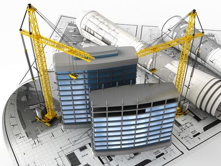 building structure: 3d illustration of building design concept