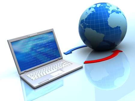 3d illustration of laptop with earth globe, internet concept Stock Illustration - 12942574
