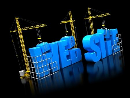 web service: 3d ilustraci�n de las gr�as de construcci�n de texto del sitio web