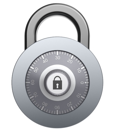 3d illustration of solid steel combination lock, isolated over white background Stock Illustration - 12942486