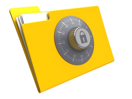 tilting: 3d illustration of folder with combination lock, isolated over white background Stock Photo