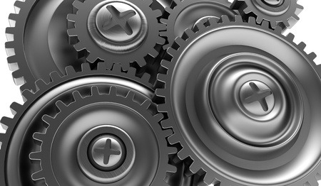 3d illustration of steel gear wheels background illustration