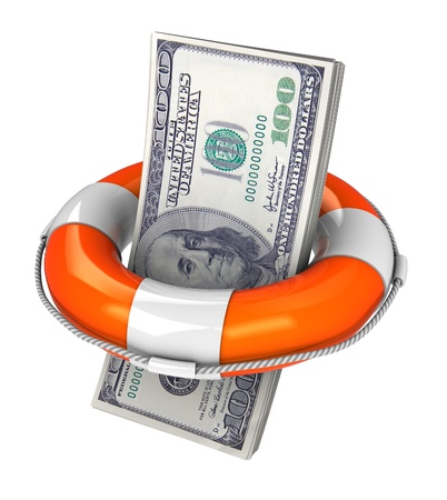 rescue signs: 3d illustration of dollar with rescue circle