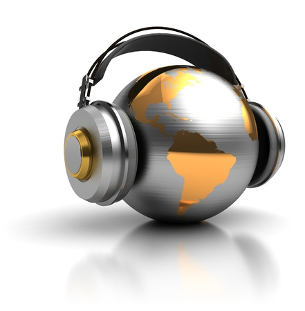 entertainment icon: abstract 3d illustration of earth globe with headphones