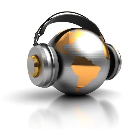 audifonos: ilustraci�n 3d abstracto de globo terr�queo con los auriculares