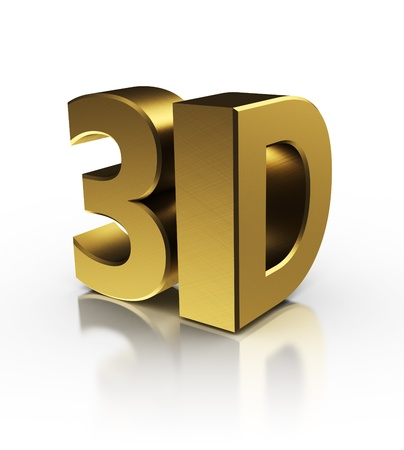 3d symbol over white background, golden colors