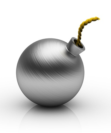 threat of violence: 3d illustration of steel bomb, over white background