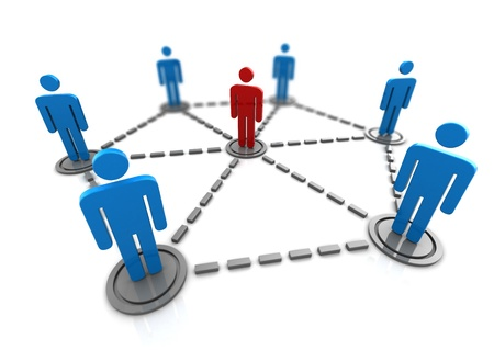 3d illustration of people network with leader Stock Illustration - 13711370