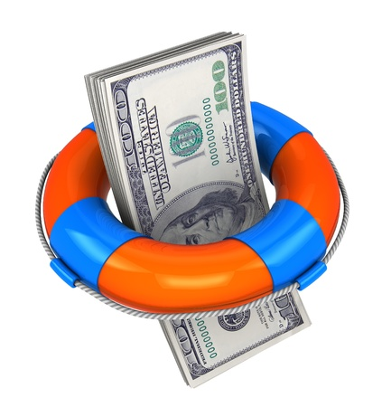 financial emergency: 3d illustration of money stack inside rescue circle