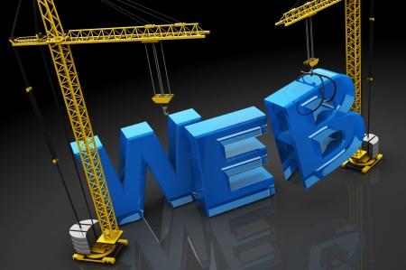 building a website: 3d illustration of web design concept