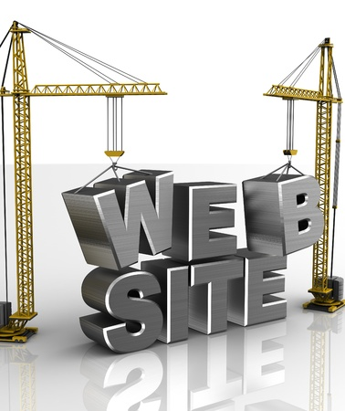 web address: 3d illustration of cranes building web site sign, over white background Stock Photo