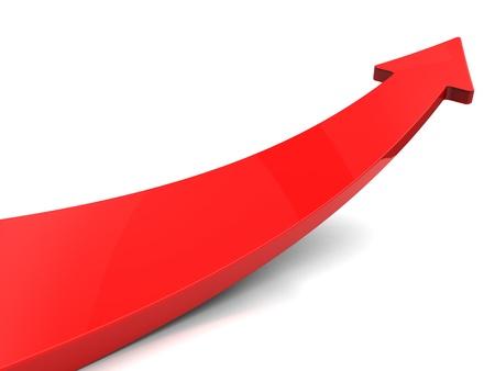 La flecha roja sobre fondo blanco