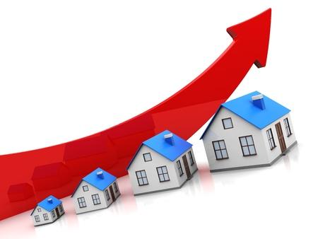 verhogen: Modern huis met rode pijl op witte achtergrond