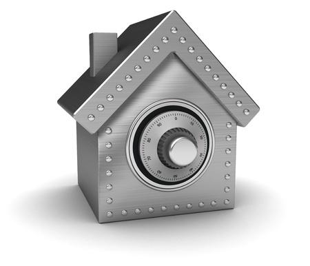 safe investments: Sicuro argento nelle case forma isolata su sfondo bianco